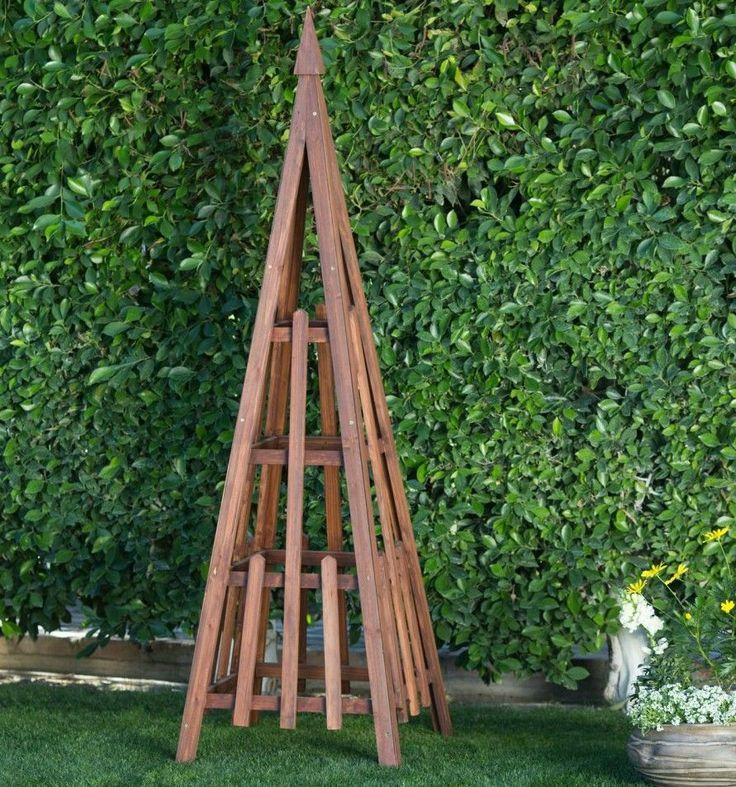 Outdoor Garden Trellis Obelisk Triangle Patio Yard Wood Accent Plants Vines New #OutdoorGardenTrellis