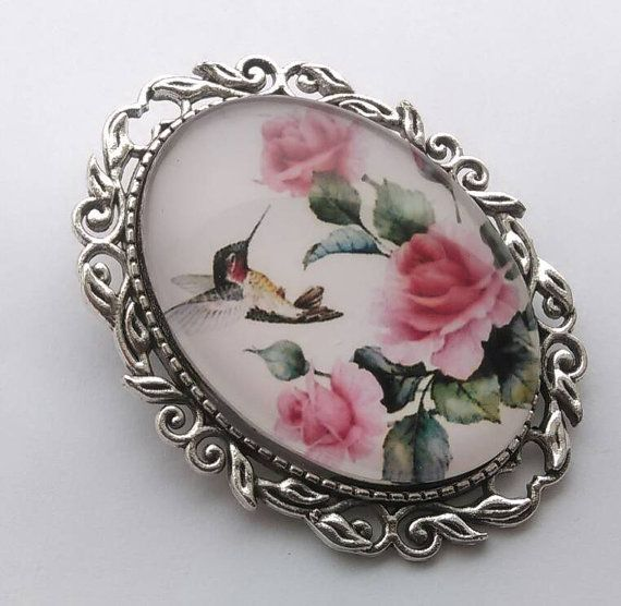 Hummingbird Brooch Vintage Rose Cabochon Silver by LiasJewelry