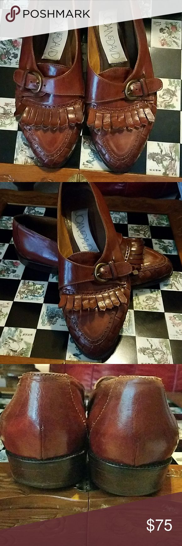 Joan and David Vintage Oxford size 8.5 Very gently loved with not so noticeable  scuff marks. There is wearing down of left heel. Detailed woven leather on the toe, with buckle on top. In awesome condition. I hate to part with them as they have been one of my favorite pairs, but they are too small! (AUTHENTIC)❣❣❣ Joan & David Shoes Flats & Loafers