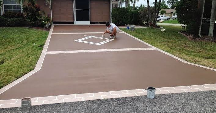 Vero Beach Painting & Faux Finishes - 772-626-7159: Painting Driveway Designs - Coating and Staining Concrete or Asphalt Surfaces