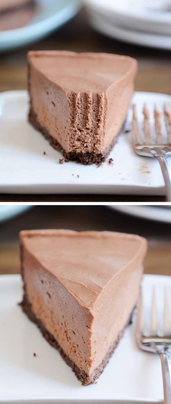 No-Bake Creamy Chocolate Cheesecake - cheese, cheesecake, chocolate, cracker, creamy, dessert, recipes, vanilla