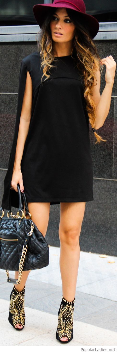 Awesome black dress design, boots and burgundy hat