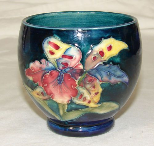 Vintage Moorcroft Pottery Orchid Cup Bowl Cobalt Blue Green England | eBay
