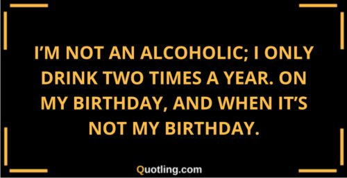 I'm not an alcoholic; I only drink two times a year on my | Alcoholic Quote