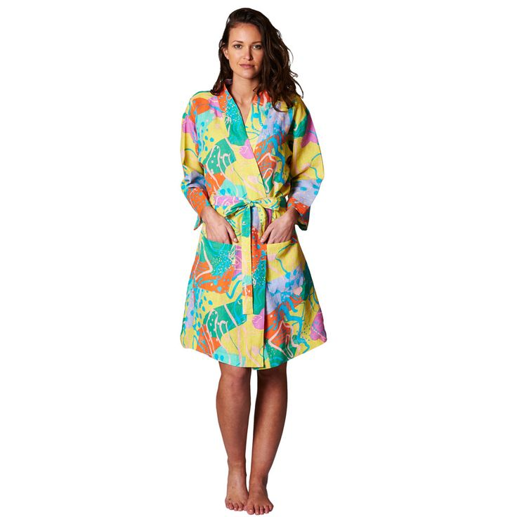 Kip & Co | SS15 Linen Robe – Birds Eye