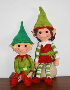 ELFOS NAVIDEÑOS AMIGURUMI, patrones en inglés gratis. Christmas Elves - Free Amigurumi Crochet Pattern here: http://amigurumibb.com/2014/11/30/christmas-elves-pattern/