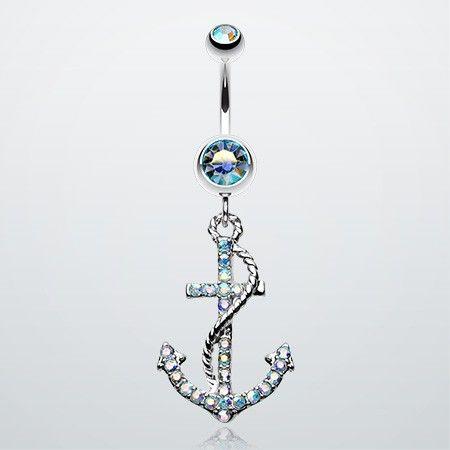 Glistening Gem Anchor Dock Belly Button Ring
