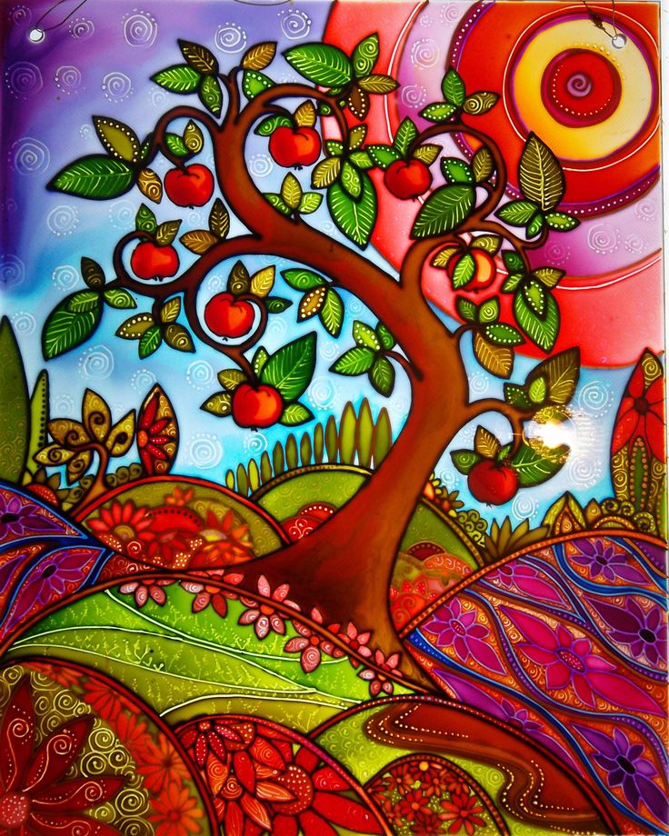 """The summer apple"" an original painted glass design by Deb at the glass orchard. contact mailto:debsinledb..."