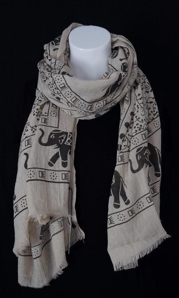 """Beige Elegant Elephant Print Summer Fashion Scarf Frayed Edges 34"""" X 70""""  NWT #Grand #Scarf"""