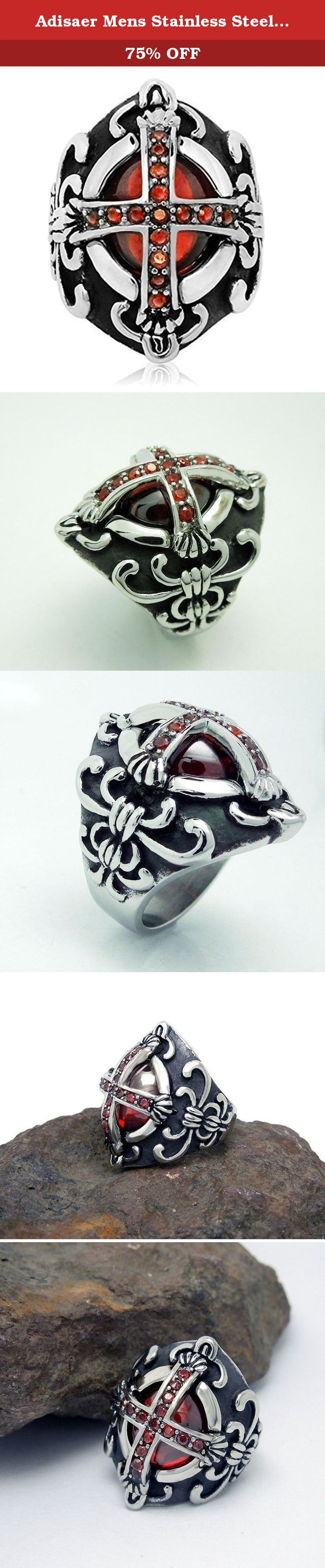 Adisaer Mens Stainless Steel Finger Rings Retro Red Cubic Zirconia Cross Gothic Band Vintage Ring Size 11. ∞ Brand Source ∞ A: At here waiting for you D: Doesn't mind how long it takes I : I love you S: So I do A: A whole heart for you E: Envisions the whole of you R: Run with you in the future Adisaer is not just jewelry, but sweet promises. Life is like a journey, Adisaer apply to join your trip sincerely and hope can become your close partner. She would love to accompany with you in…