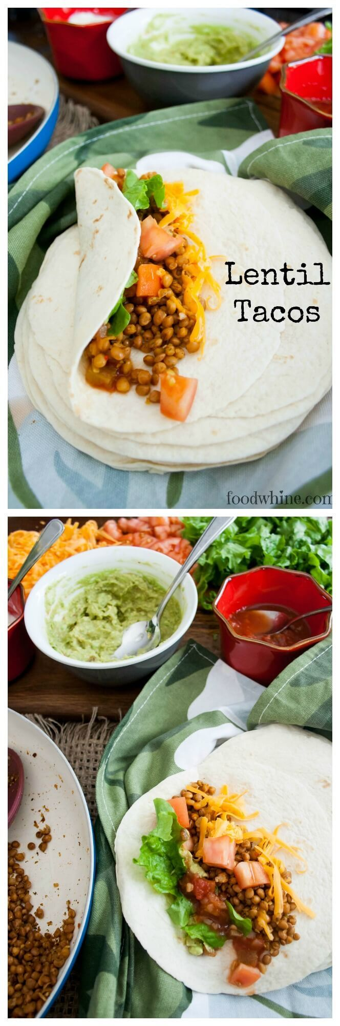 Lightning fast Lentil Taco recipe, and a Taco template to help you create countless taco dinners.
