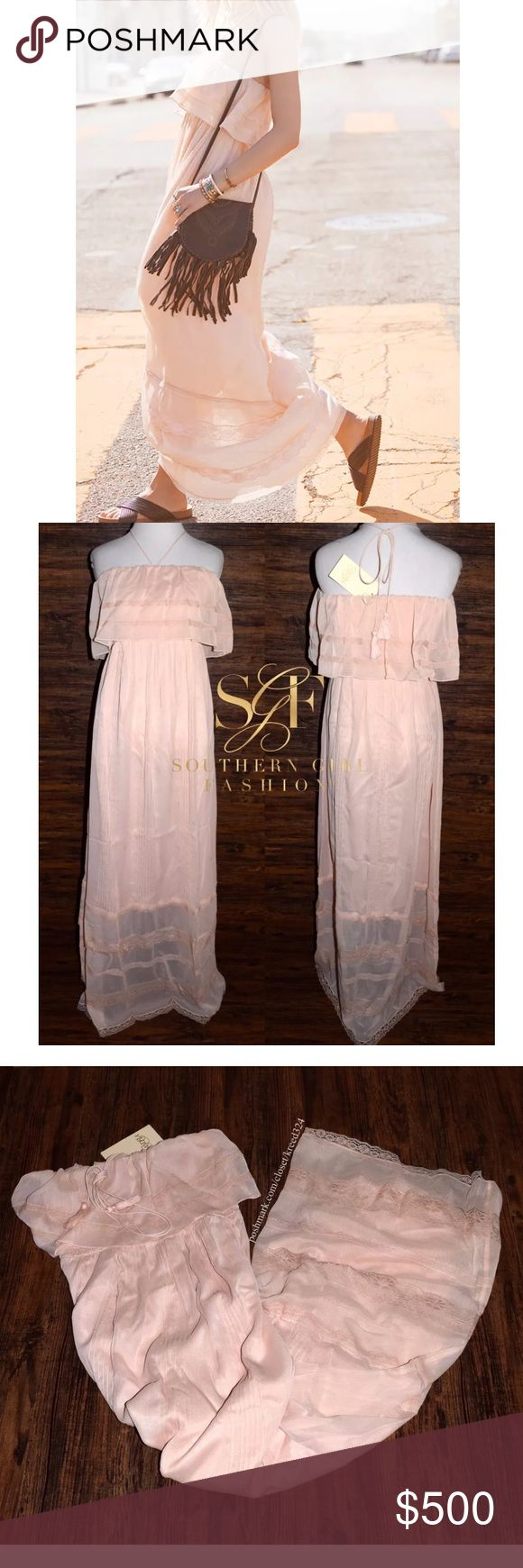 FREE PEOPLE Maxi Dress Draped Bohemian Long Gown Size Large. Brand New With Tags. $298 MSRP + Tax.  • Elegant blush color maxi dress featuring intricate floral lace raw scalloped trimming. • Optional halter-style neckline ties. • Banded, elastic upper body/bust portion allows for the perfect fit. • Self-lined with a midi dress. • By Candela for Free People. • Measurements provided in comments below.  {Southern Girl Fashion - Closet Policy}  ✔️ Same-Business-Day Shipping (10am CT). ✔️ Price…