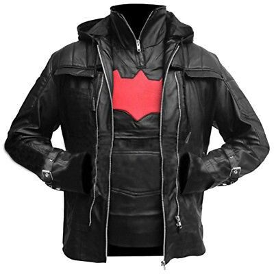 Batman Arkham Knight Game Costume Red Hood Halloween Black Leather Jacket & Vest $79.00