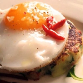 Potato hash and sunny side up