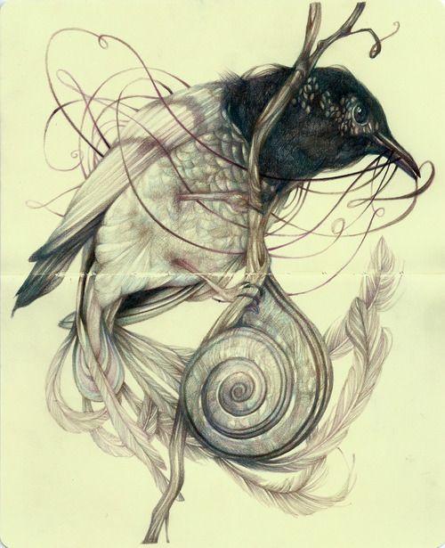 "Marco Mazzoni""The Interpreter"", colored pencils and ink on moleskine paper"