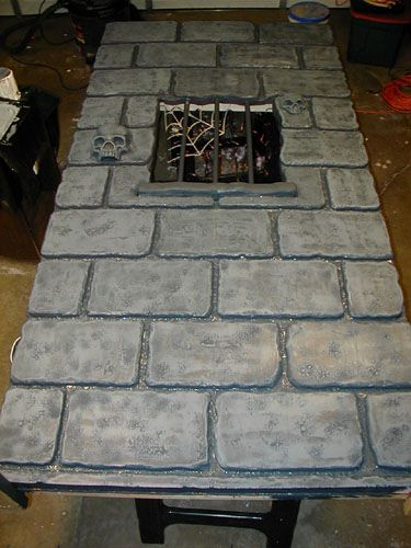 minus the skulls etc -making castle walls from foam insulation sheets!