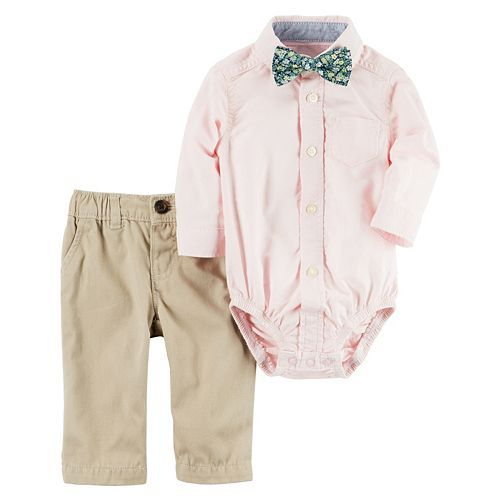 Baby Boy Carter's Button-Down Shirt, Floral Bow Tie & Khaki Pants Set