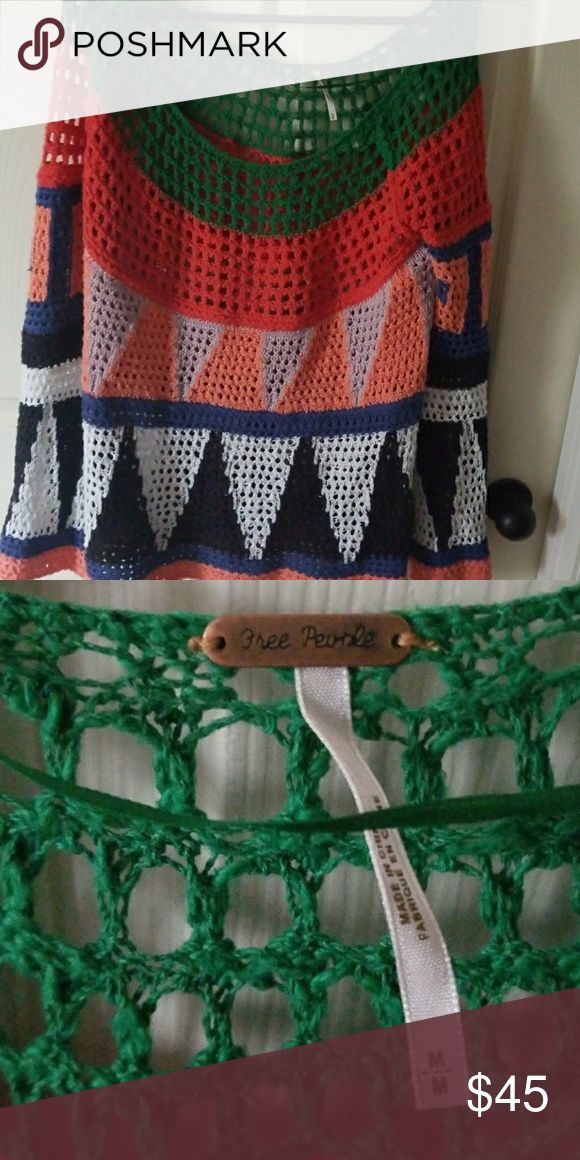 Free people  loose knit sweater Great for summer and spring Free People Sweaters Crew & Scoop Necks