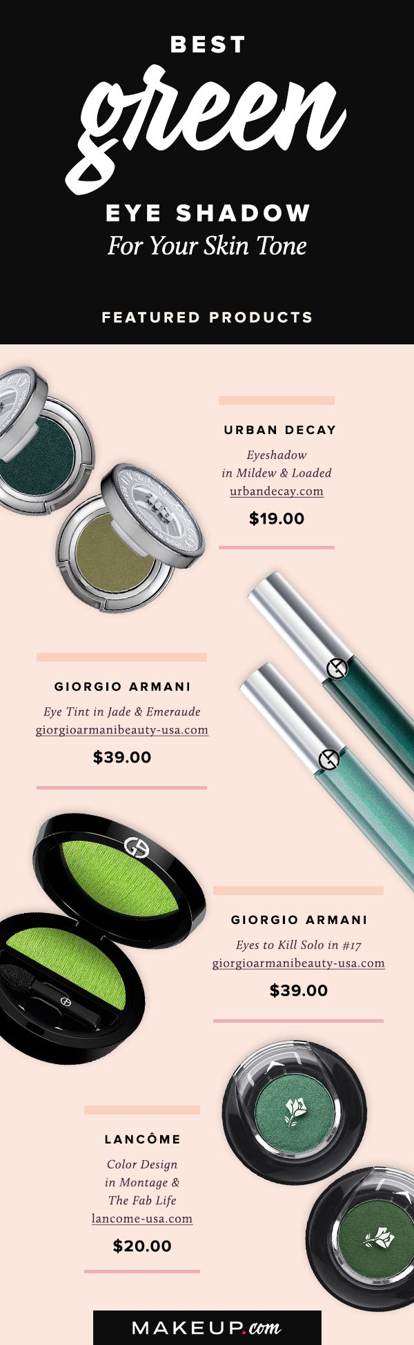 When you think about eye shadow, green may not instantly come to mind. We'll show you why that should change thanks to these pretty green eye shadows that look great on fair, medium and dark skin tones.