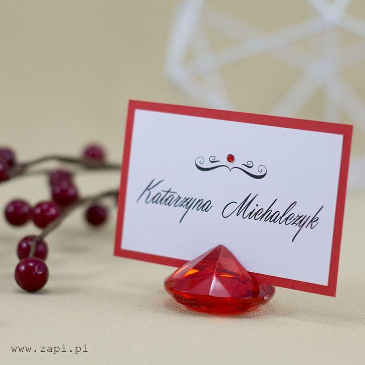 czerwona elegancka winietka w krysztale