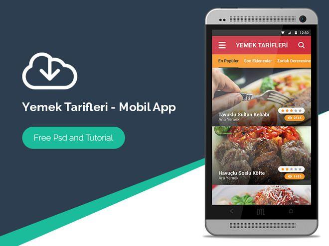 Free Recipe Andriod Mobile App Psd