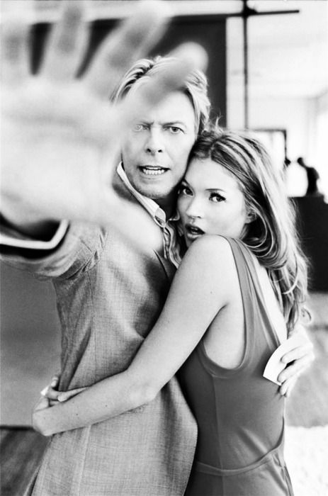 David Bowie & Kate Moss seen here not smiling for the camera! © Ellen von Unwerth for Q 2003