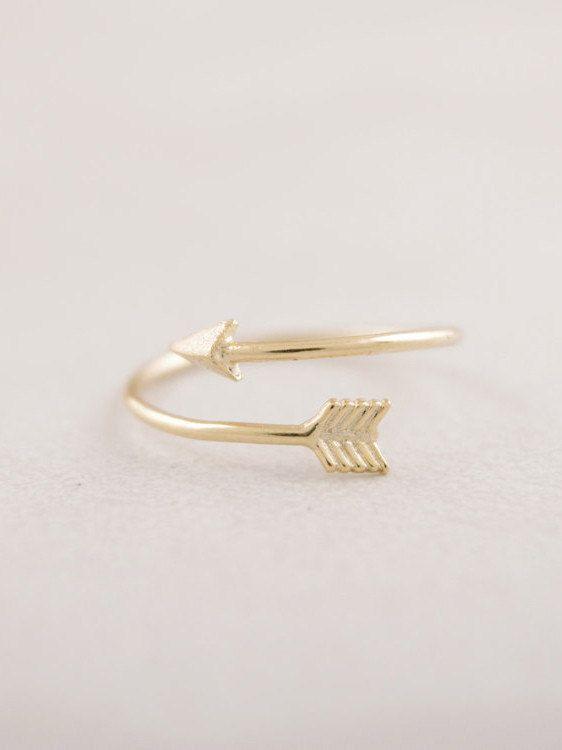 Minimalistic Arrow Wraparound Ring 18k Gold Silver by MinimalMeow