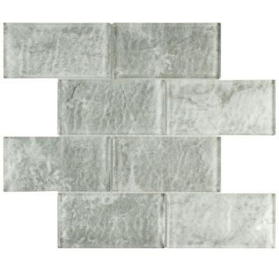 Merola Tile Igloo Convex Subway Ash 11 5 8 In X 7 12 Mm Glass Mosaic Grey High Sheen