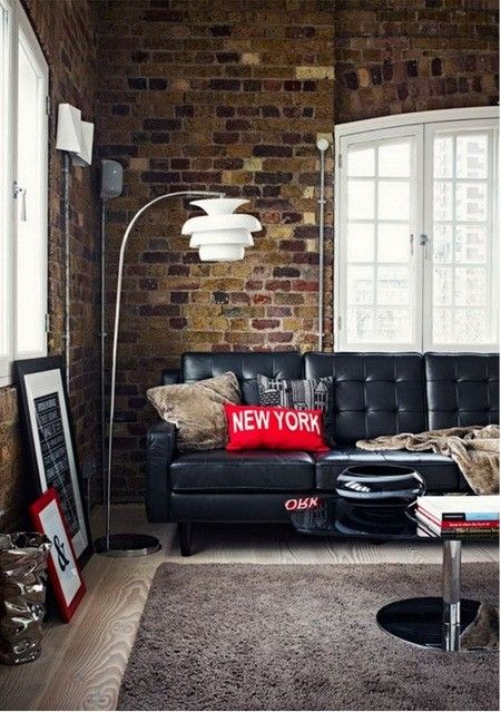 ♂ Masculine interior living room area with rustic brick wall