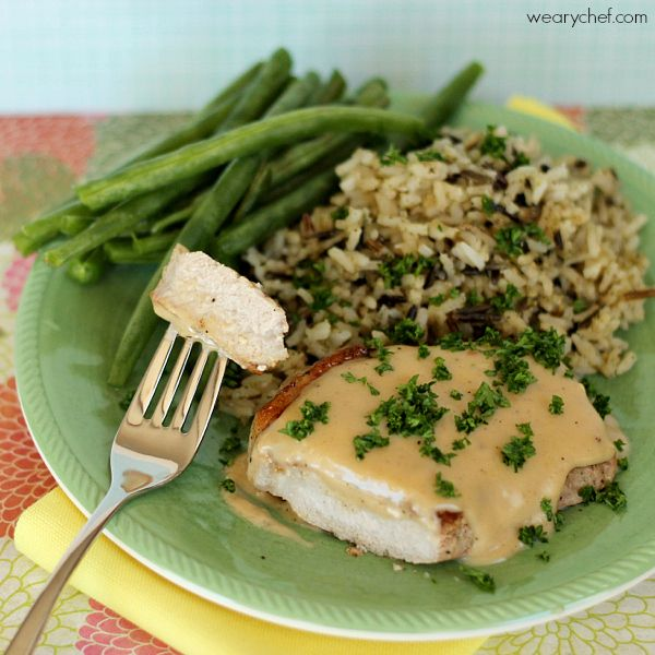 Pork Chops with Apple Gravy - This slightly sweet sauce over pork is a must try!