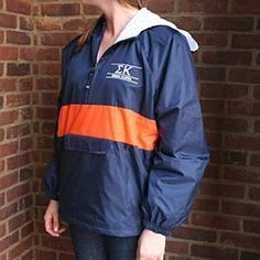 Monogrammed Anorak Rain Jacket-Navy with Orange Stripe