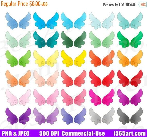 50% OFF Wings Clipart, Angel Wings Clip Art, Wing Graphics, Cute Angelic Wings, Kawaii Fairy Wings, Planner Sticker Icons, PNG by I365art