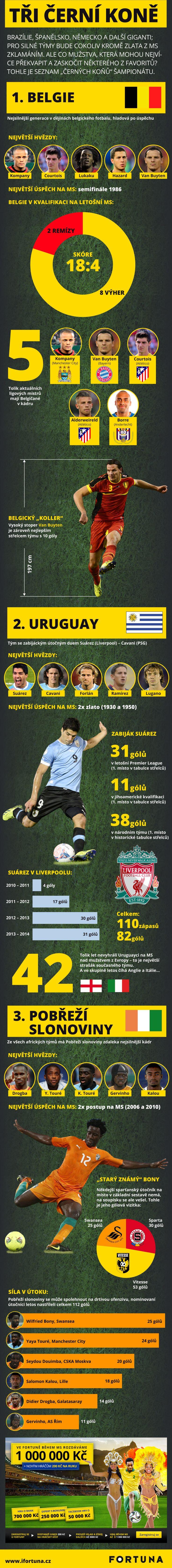 Infografika - Kdo jsou černé koně MS ve fotbale 2014
