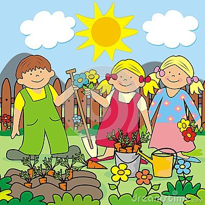 Kids Gardening Illustration