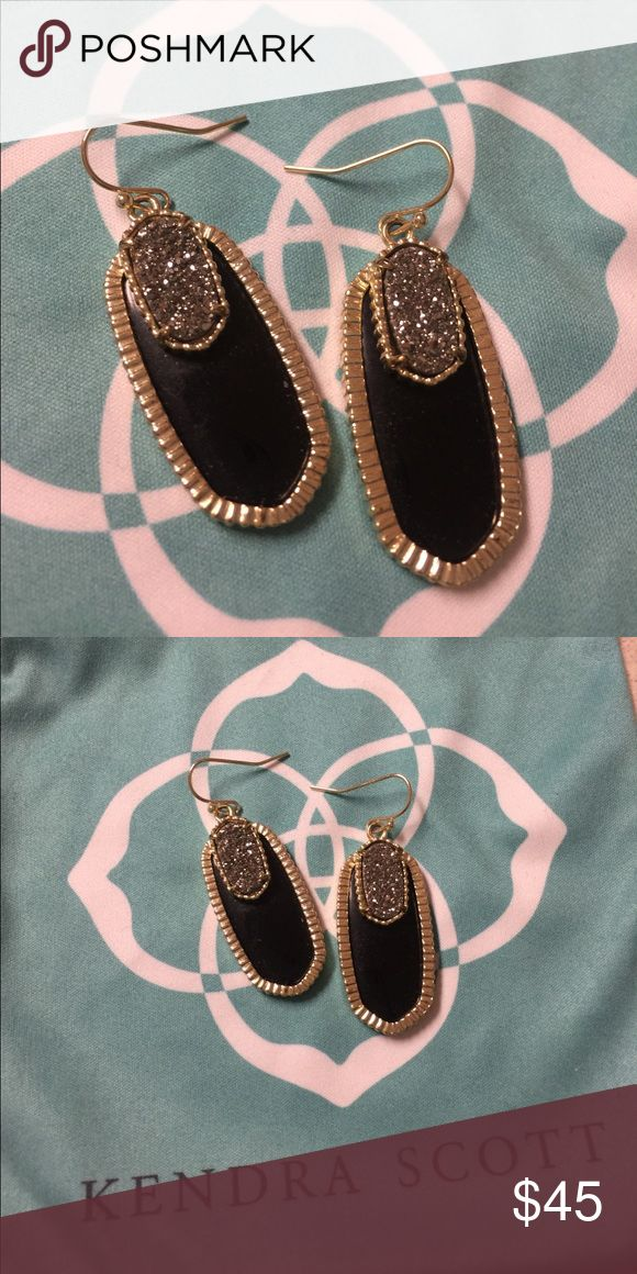 Kendra Scott Elle Earrings, Black with Drusy Excellent condition.  Comes with dust bag. Kendra Scott Jewelry Earrings