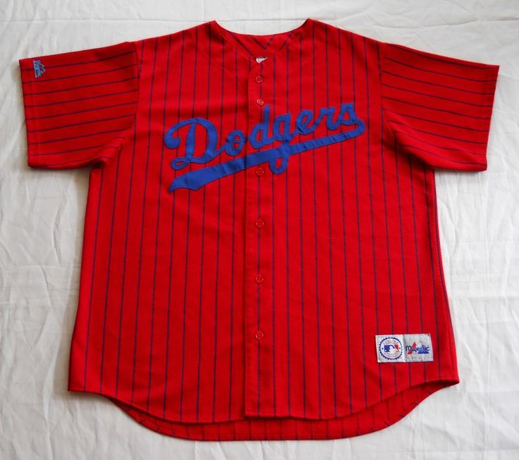 ... Vintage Los Angeles Dodgers Jersey Red Pinstripe Majestic MLB 90s XL ... 8e0c89d3f91