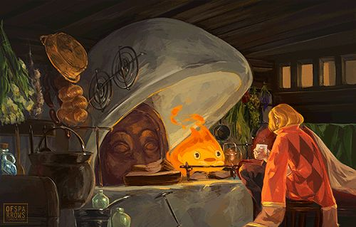 """""""I like to think that Howl and Calcifer just sat down and had tea and a chat once in a while. You would too if your fireplace were a sentient fire demon. It's one of the perks."""""""