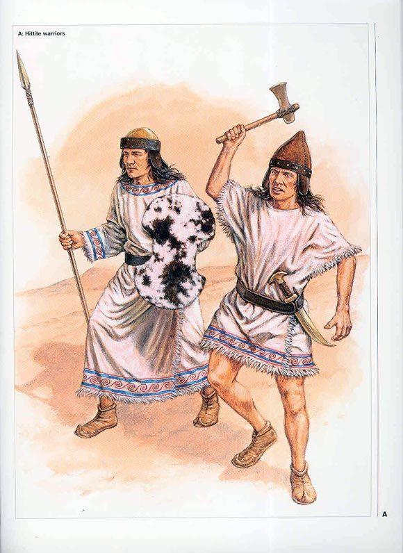 Hittite warriors with axe, spear, dagger.