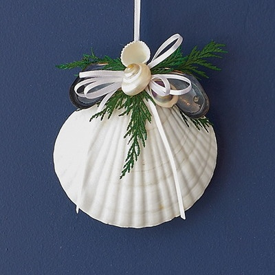 """Coastal Winter 4"""" white scallop shell holiday tree ornament sprinkled with greenery, shells and and white ribbon."""