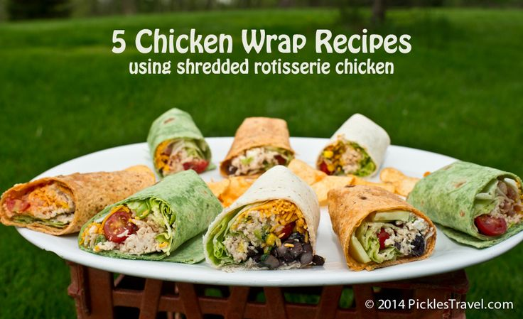 Rotisserie Chicken and a few staple ingredients are all you need to make a delicious wrap sandwich. 1 chicken will make close to 10 wraps so it can be a delicious and cheap meal! 5 recipes include the simple chicken wrap, southwestern, Greek, Buffalo, Ranch and others | visit www.picklestravel.com for more great meal ideas