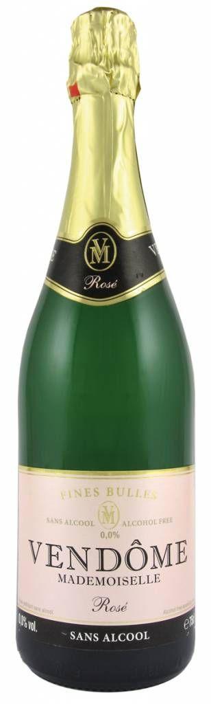 Vendôme Mademoiselle rosé is gemaakt van druivenmost van blauwe druiven met 0,0% alcohol en is calorie-arm. De wijn heeft een overtuigende smaak van milddroge mousserende wijn, met fijne belletjes en een lichte fruitigheid.