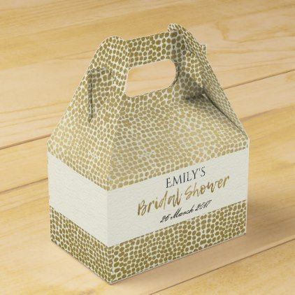 GLAMOROUS GOLD WHITE MOSAIC DOTS BRIDAL SHOWER FAVOR BOX - calligraphy gifts custom personalize diy create your own