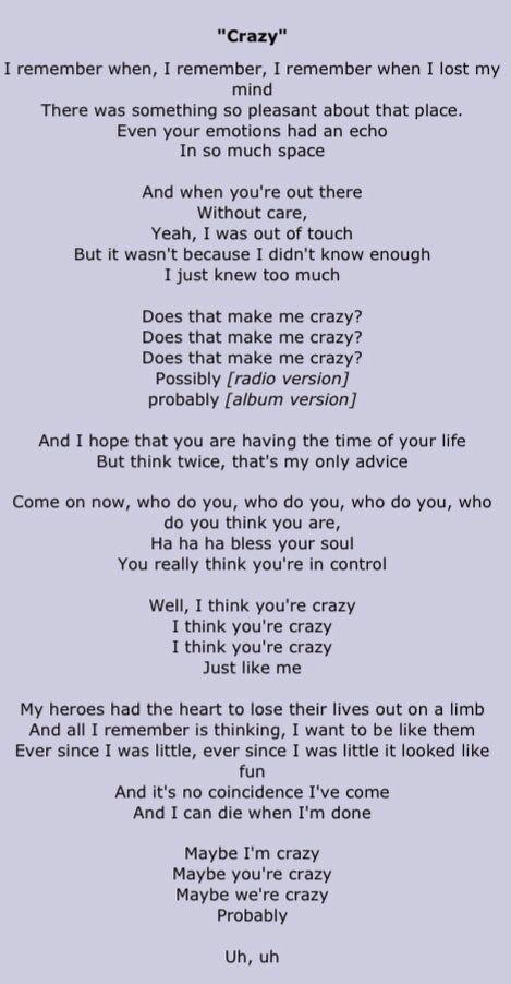 """Crazy"" St. Elsewhere. Gnarls Barkley Lyrics."