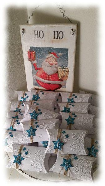 Adventskalender Pillow Box Schneeflocken und Stern von Prilapri auf DaWanda.com