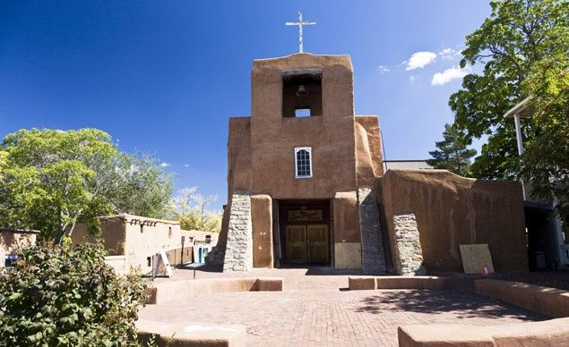 Oldest Church: San Miguel Mission. The Spanish Colonial San Miguel Mission in Santa Fe, N.M., was built in 1710 to replaces a 1626 chapel that was destroyed in a fire.
