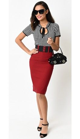 1950s Style Burgundy High Waist Belted Stretch Pencil Skirt