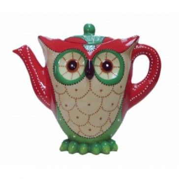 Owl Teapot - Red and Green