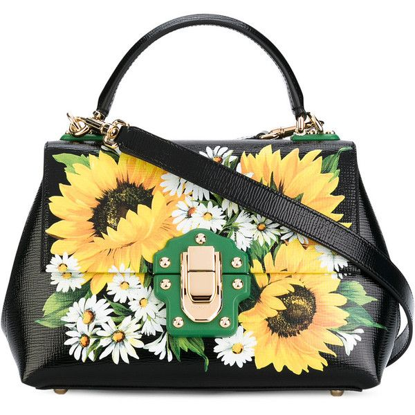 Dolce & Gabbana Lucia sunflower tote ($2,945) ❤ liked on Polyvore featuring bags, handbags, tote bags, black, floral leather handbags, floral tote, floral tote bag, handbags totes and genuine leather handbags