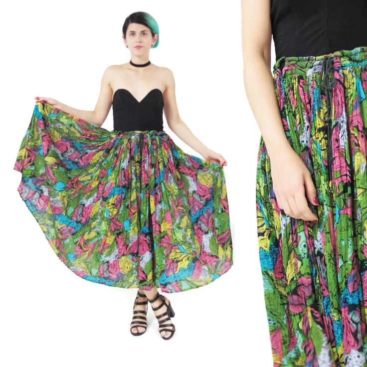 New to honeymoonmuse on Etsy: Vintage Indian Gauze Cotton Maxi Skirt Gypsy Hippie Boho Drawstring Waist Skirt Plus Size Broomstick Skirt Colorful Print African Skirt (XL) (55.00 CAD)