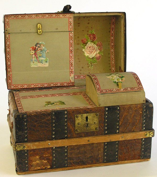 6049 Victorian Childs Travel Trunk On Antiques